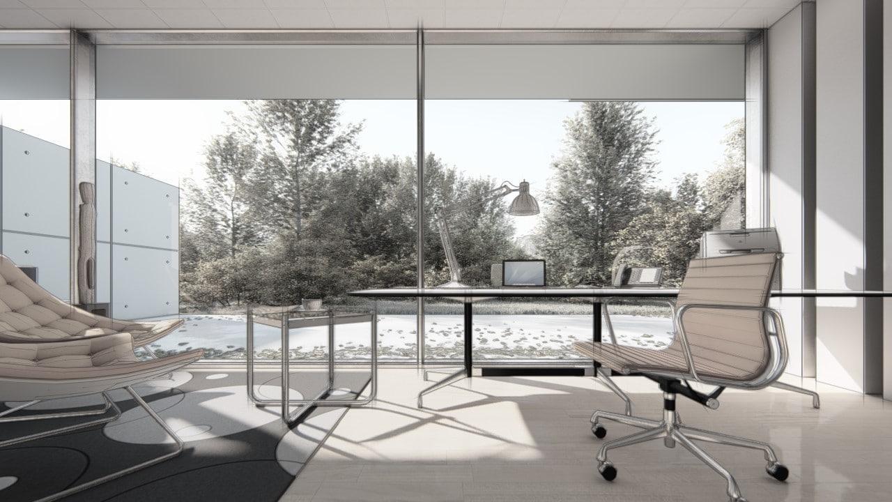 imagem 3d de interior residencial